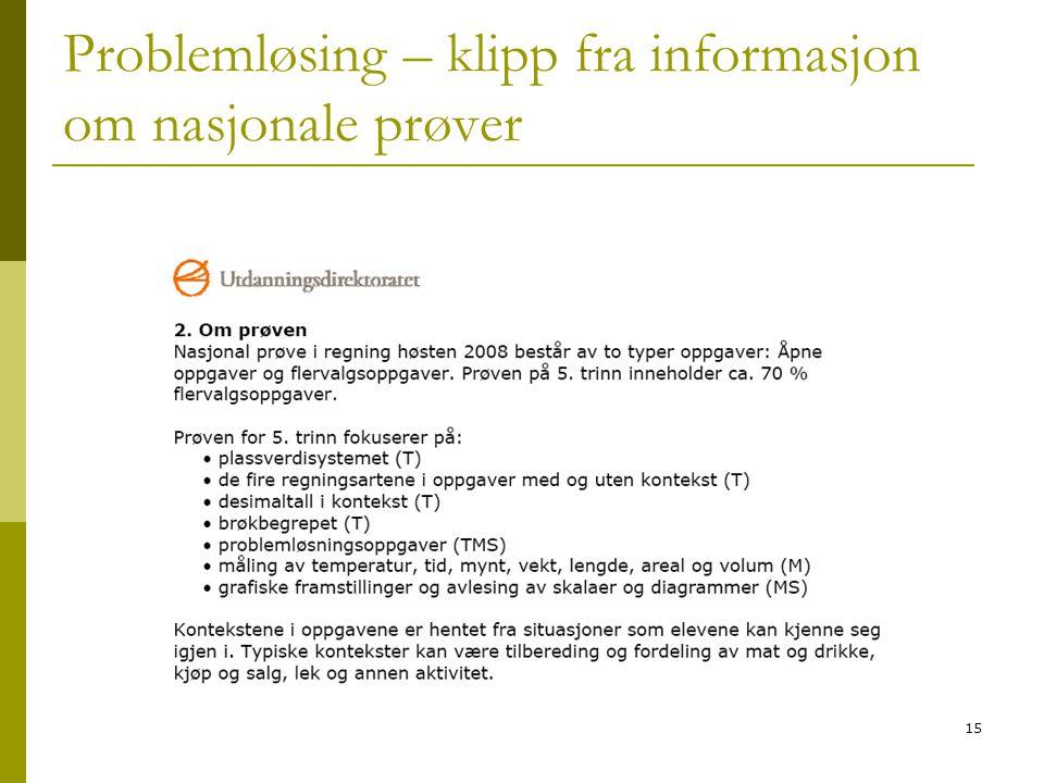 15 Problemløsing – klipp fra informasjon om nasjonale prøver