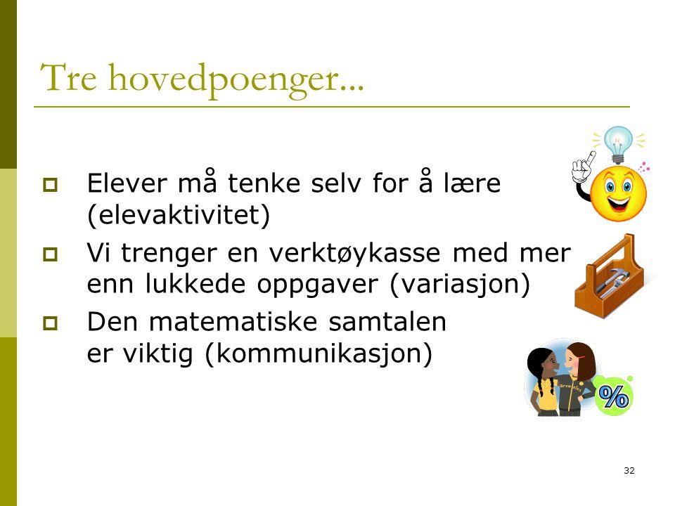 32 Tre hovedpoenger...  Elever må tenke selv for å lære (elevaktivitet)  Vi trenger en verktøykasse med mer enn lukkede oppgaver (variasjon)  Den m