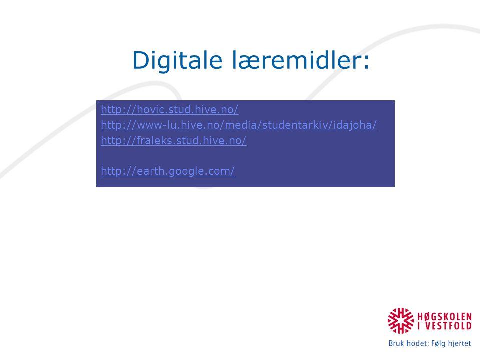 Digitale læremidler: http://hovic.stud.hive.no/ http://www-lu.hive.no/media/studentarkiv/idajoha/ http://fraleks.stud.hive.no/ http://earth.google.com/