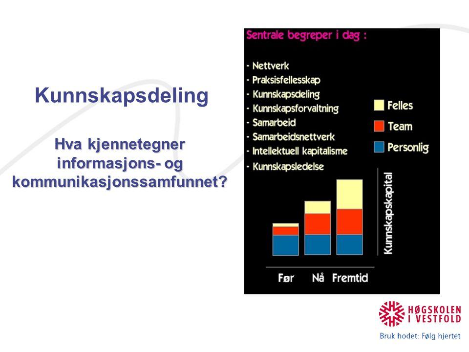 Kunnskapsdeling Hva kjennetegner informasjons- og kommunikasjonssamfunnet