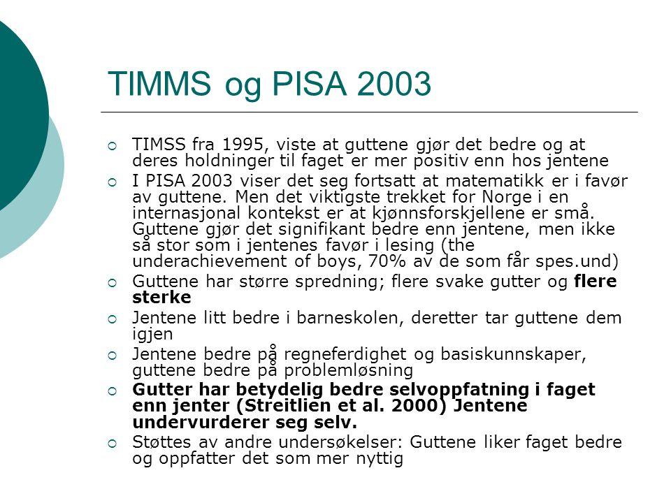 TIMMS og PISA 2003  TIMSS fra 1995, viste at guttene gjør det bedre og at deres holdninger til faget er mer positiv enn hos jentene  I PISA 2003 viser det seg fortsatt at matematikk er i favør av guttene.