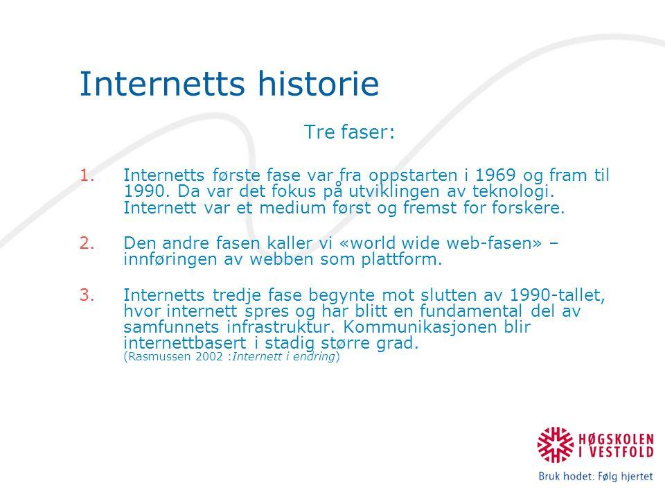 Internetts historie Tre faser: 1.Internetts første fase var fra oppstarten i 1969 og fram til 1990.