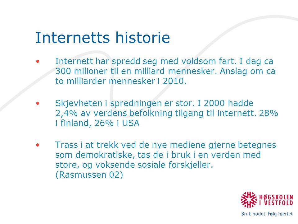 Internetts historie Internett har spredd seg med voldsom fart.