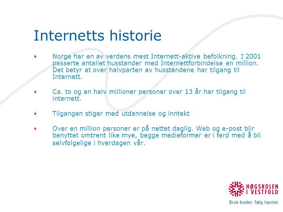 Internetts historie Norge har en av verdens mest Internett-aktive befolkning.