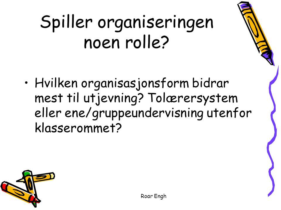 Roar Engh Spiller organiseringen noen rolle.Hvilken organisasjonsform bidrar mest til utjevning.