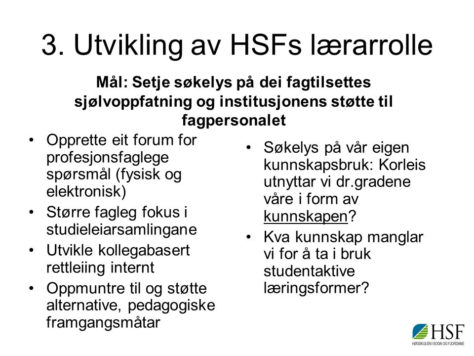 3. Utvikling av HSFs lærarrolle Opprette eit forum for profesjonsfaglege spørsmål (fysisk og elektronisk) Større fagleg fokus i studieleiarsamlingane