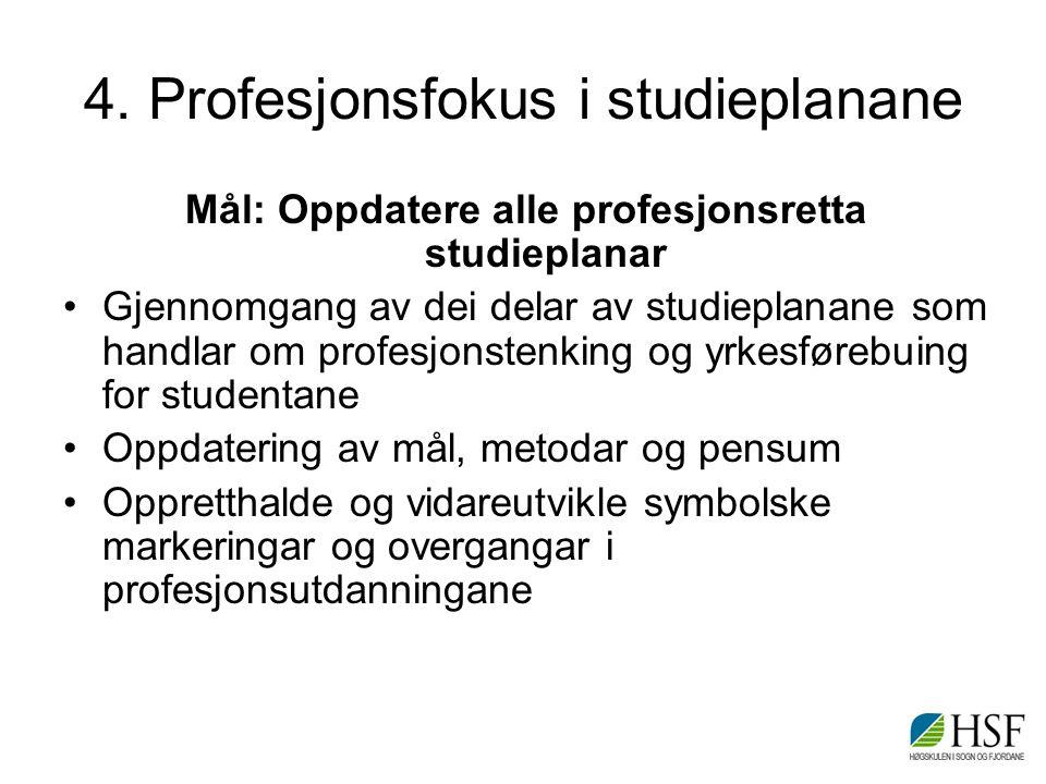 4. Profesjonsfokus i studieplanane Mål: Oppdatere alle profesjonsretta studieplanar Gjennomgang av dei delar av studieplanane som handlar om profesjon