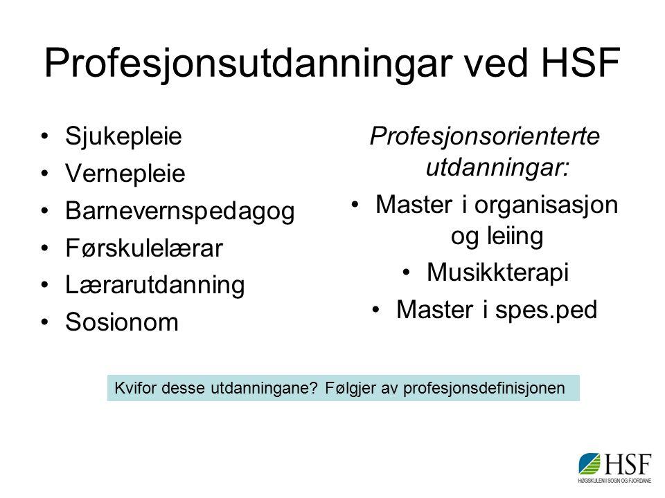 Ulike metaspørsmål definisjonen reiser for HSF Korleis underviser vi profesjonsutøvarane.