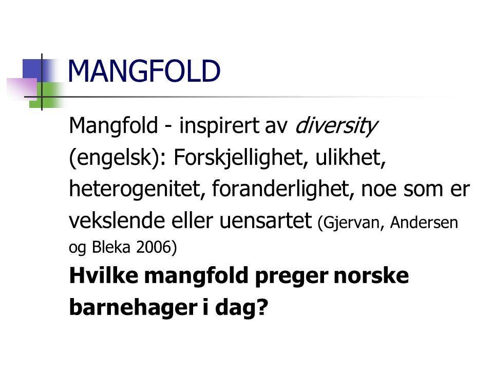 MANGFOLD Mangfold - inspirert av diversity (engelsk): Forskjellighet, ulikhet, heterogenitet, foranderlighet, noe som er vekslende eller uensartet (Gj