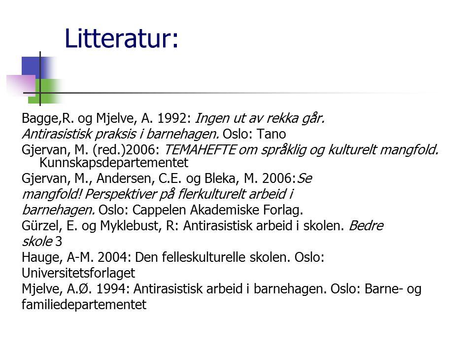Litteratur: Bagge,R. og Mjelve, A. 1992: Ingen ut av rekka går. Antirasistisk praksis i barnehagen. Oslo: Tano Gjervan, M. (red.)2006: TEMAHEFTE om sp
