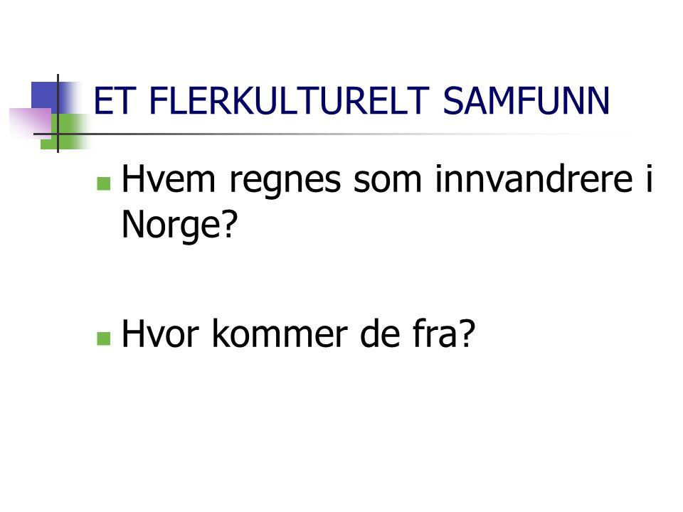 ET FLERKULTURELT SAMFUNN Hvem regnes som innvandrere i Norge? Hvor kommer de fra?