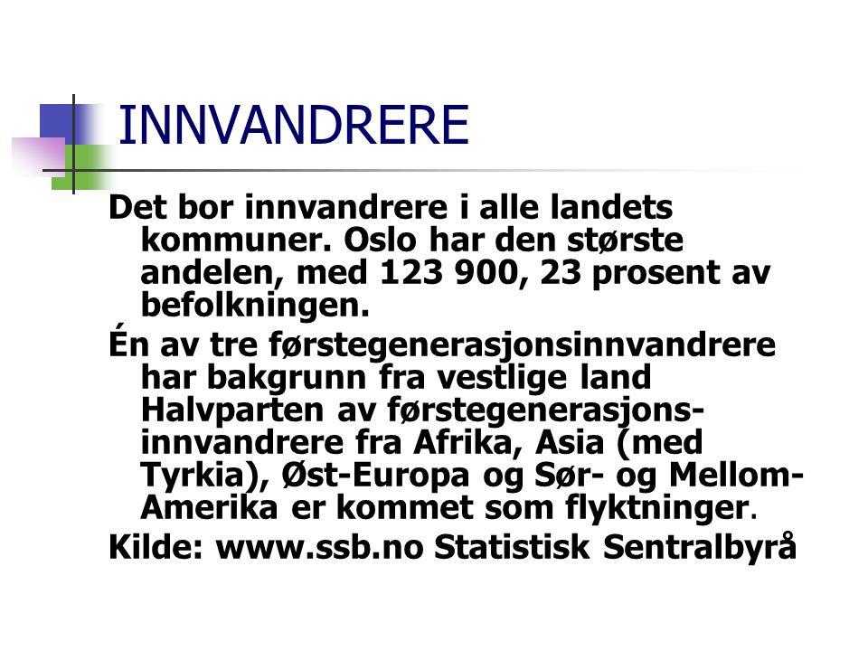 INNVANDRERE Det bor innvandrere i alle landets kommuner. Oslo har den største andelen, med 123 900, 23 prosent av befolkningen. Én av tre førstegenera