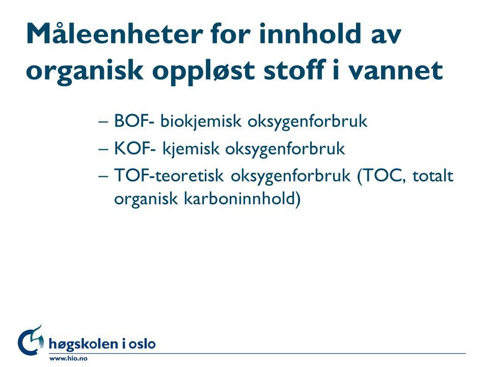 Måleenheter for innhold av organisk oppløst stoff i vannet –BOF- biokjemisk oksygenforbruk –KOF- kjemisk oksygenforbruk –TOF-teoretisk oksygenforbruk (TOC, totalt organisk karboninnhold)