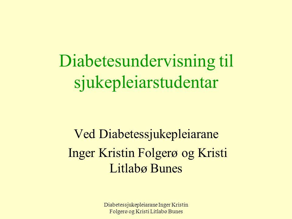 Diabetessjukepleiarane Inger Kristin Folgerø og Kristi Litlabø Bunes Diabetesundervisning til sjukepleiarstudentar Ved Diabetessjukepleiarane Inger Kr