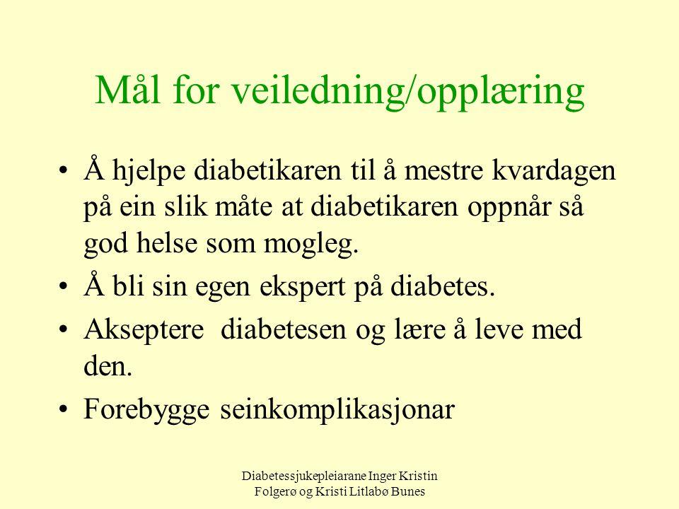 Diabetessjukepleiarane Inger Kristin Folgerø og Kristi Litlabø Bunes Mål for veiledning/opplæring Å hjelpe diabetikaren til å mestre kvardagen på ein