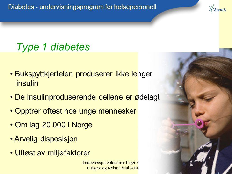 Diabetessjukepleiarane Inger Kristin Folgerø og Kristi Litlabø Bunes Type 1 diabetes Diabetes - undervisningsprogram for helsepersonell Bukspyttkjerte