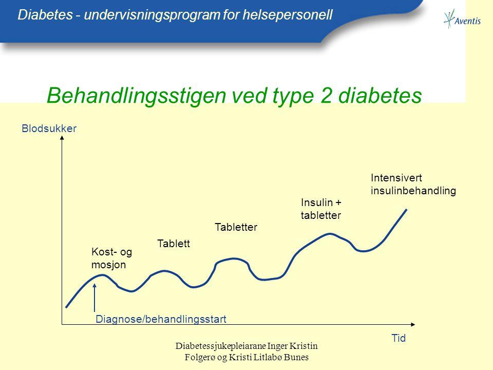 Diabetessjukepleiarane Inger Kristin Folgerø og Kristi Litlabø Bunes Behandlingsstigen ved type 2 diabetes Diabetes - undervisningsprogram for helsepe