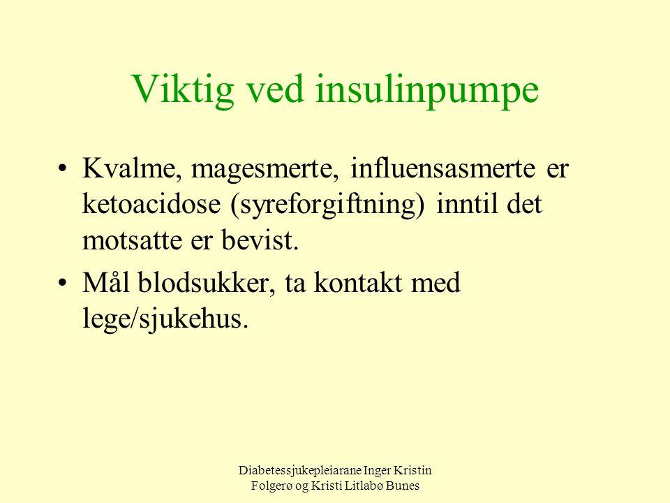 Diabetessjukepleiarane Inger Kristin Folgerø og Kristi Litlabø Bunes Viktig ved insulinpumpe Kvalme, magesmerte, influensasmerte er ketoacidose (syref