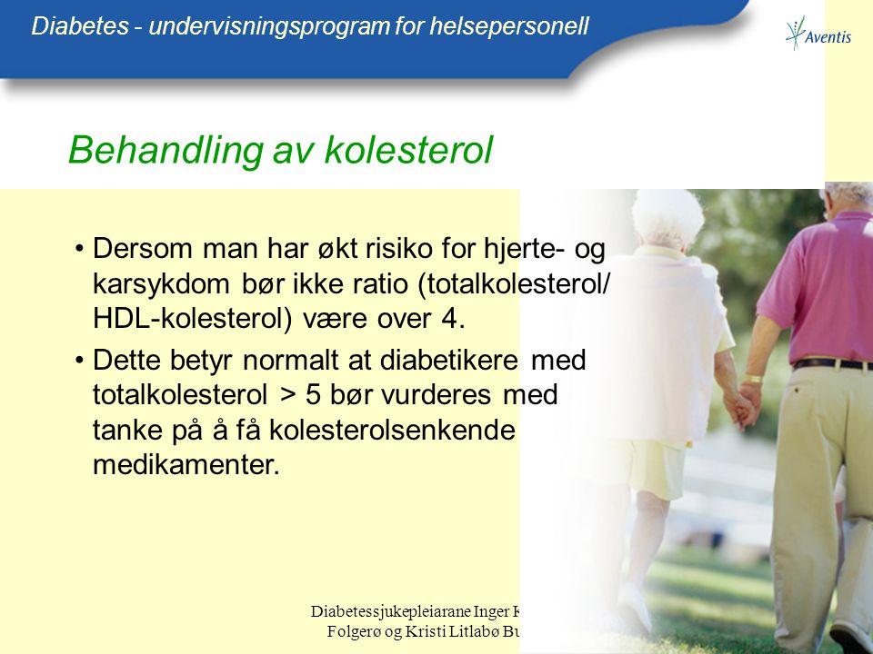 Diabetessjukepleiarane Inger Kristin Folgerø og Kristi Litlabø Bunes Behandling av kolesterol Diabetes - undervisningsprogram for helsepersonell Derso