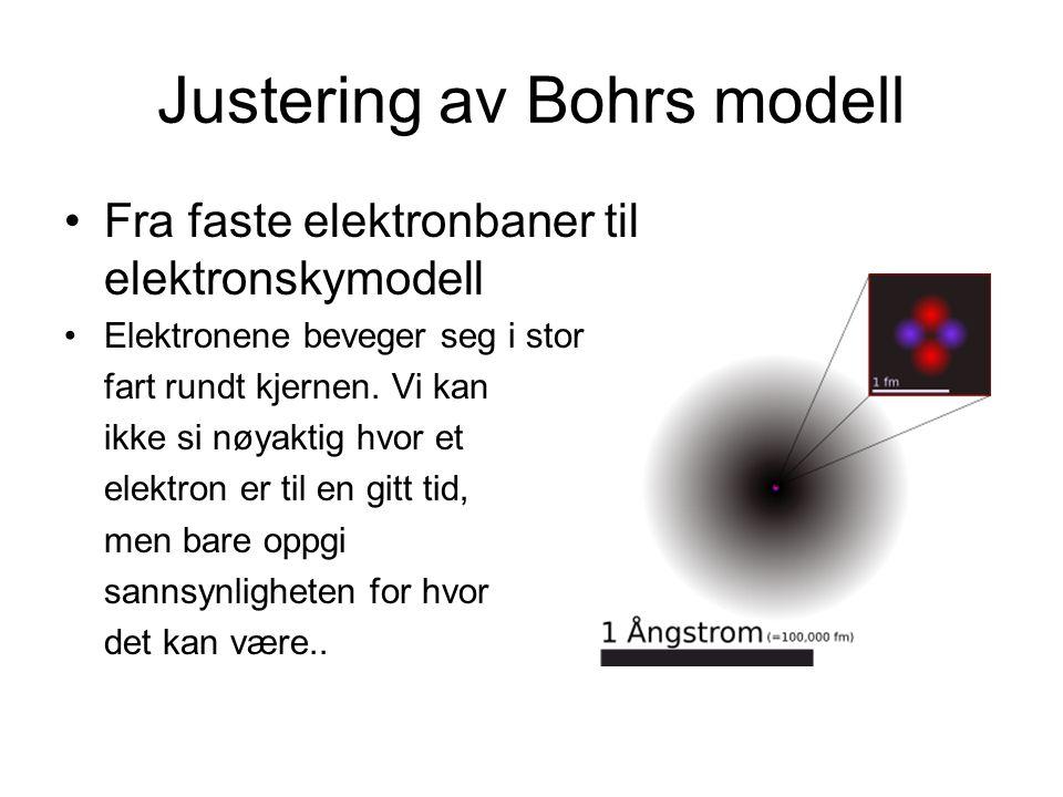 Justering av Bohrs modell Fra faste elektronbaner til elektronskymodell Elektronene beveger seg i stor fart rundt kjernen. Vi kan ikke si nøyaktig hvo