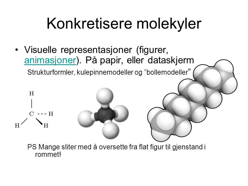 Konkretisere molekyler Visuelle representasjoner (figurer, animasjoner). På papir, eller dataskjerm animasjoner Strukturformler, kulepinnemodeller og