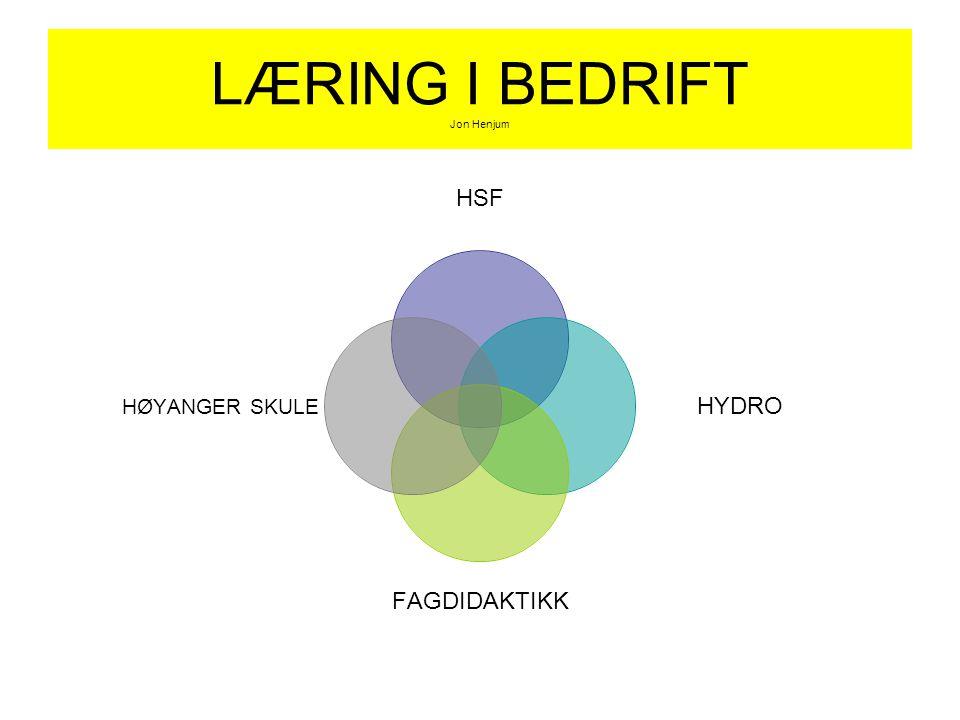 LÆRING I BEDRIFT Jon Henjum HSF HYDRO FAGDIDAKTIKK HØYANGER SKULE