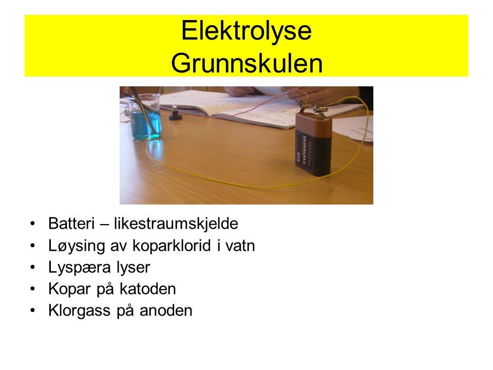 Elektrolyse Grunnskulen Batteri – likestraumskjelde Løysing av koparklorid i vatn Lyspæra lyser Kopar på katoden Klorgass på anoden