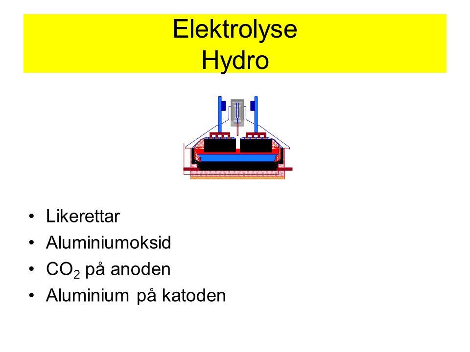 Elektrolyse Hydro Likerettar Aluminiumoksid CO 2 på anoden Aluminium på katoden