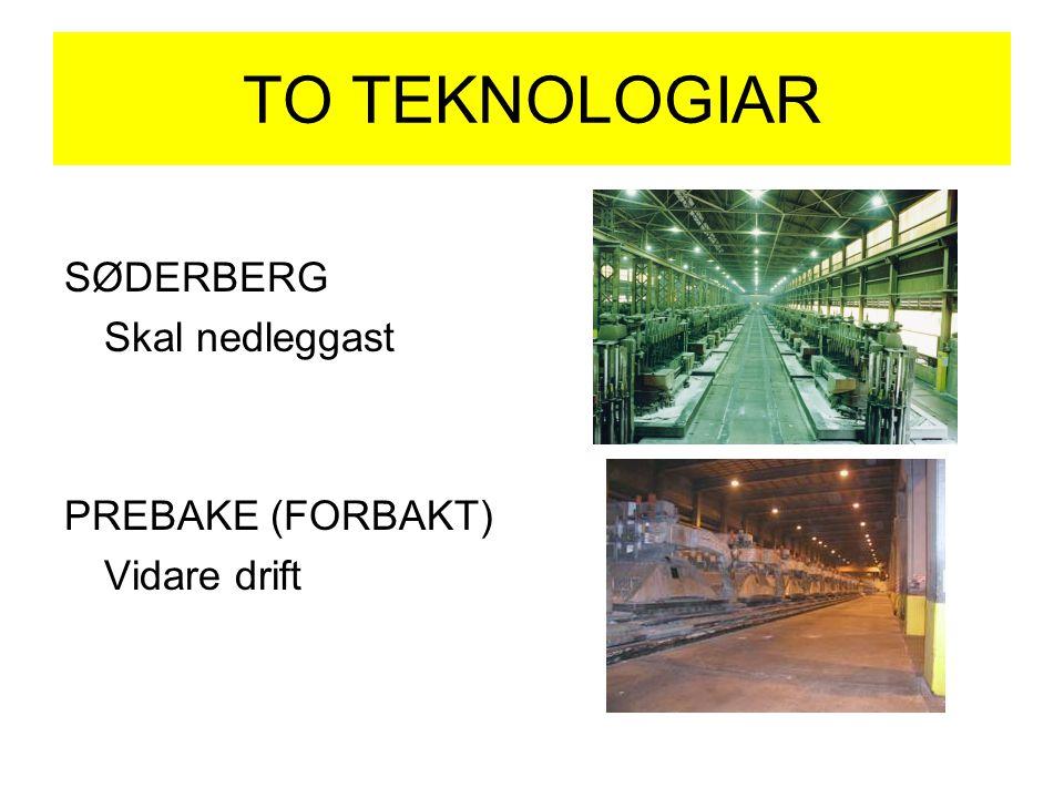 TO TEKNOLOGIAR SØDERBERG Skal nedleggast PREBAKE (FORBAKT) Vidare drift