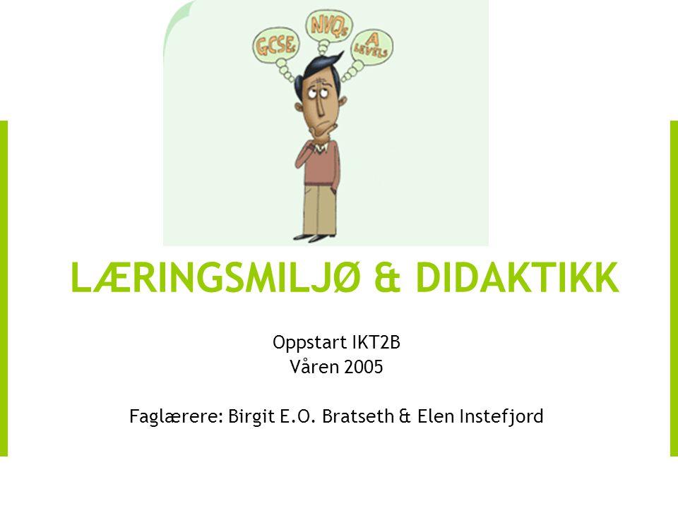 Oppstart IKT2B Våren 2005 Faglærere: Birgit E.O. Bratseth & Elen Instefjord LÆRINGSMILJØ & DIDAKTIKK