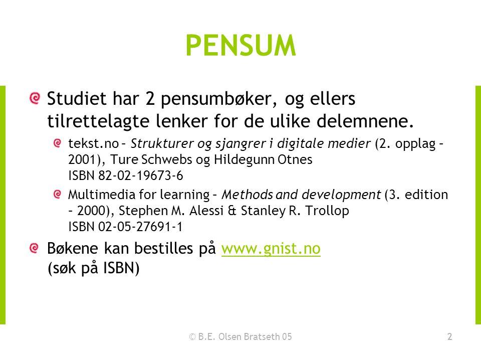 © B.E. Olsen Bratseth 052 PENSUM Studiet har 2 pensumbøker, og ellers tilrettelagte lenker for de ulike delemnene. tekst.no – Strukturer og sjangrer i