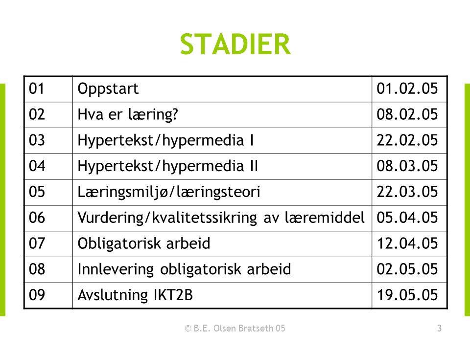 © B.E. Olsen Bratseth 053 STADIER 01Oppstart01.02.05 02Hva er læring?08.02.05 03Hypertekst/hypermedia I22.02.05 04Hypertekst/hypermedia II08.03.05 05L