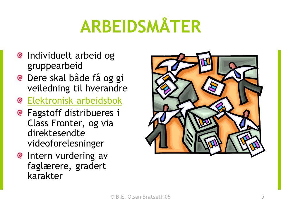 © B.E. Olsen Bratseth 055 ARBEIDSMÅTER Individuelt arbeid og gruppearbeid Dere skal både få og gi veiledning til hverandre Elektronisk arbeidsbok Fags