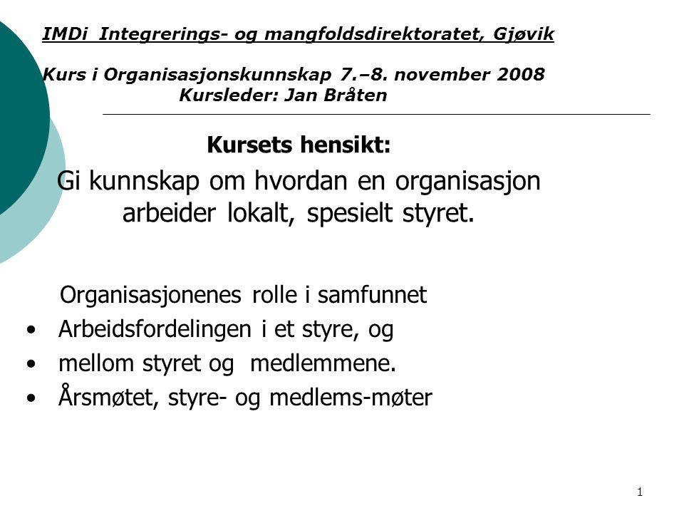 1 Organisasjonenes rolle i samfunnet Arbeidsfordelingen i et styre, og mellom styret og medlemmene.