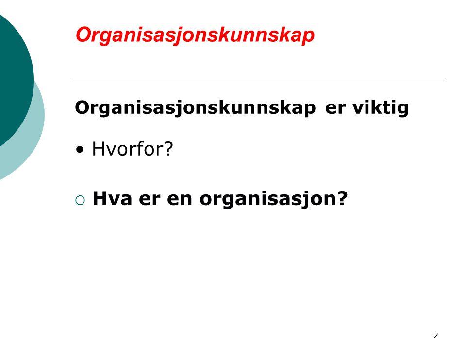 2 Organisasjonskunnskap Organisasjonskunnskap er viktig Hvorfor?  Hva er en organisasjon?