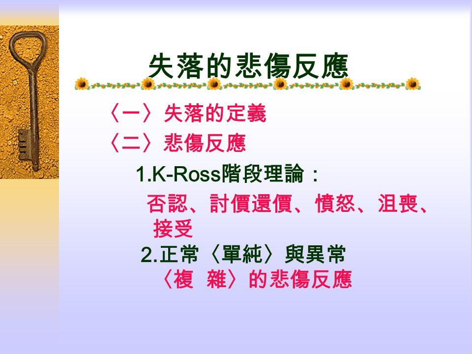 失落的悲傷反應 〈一〉失落的定義 〈二〉悲傷反應 1.K-Ross 階段理論: 否認、討價還價、憤怒、沮喪、 接受 2. 正常〈單純〉與異常 〈複 雜〉的悲傷反應