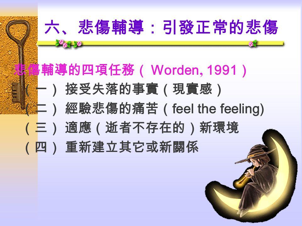 六、悲傷輔導:引發正常的悲傷 悲傷輔導的四項任務( Worden ' 1991 ) (一) 接受失落的事實(現實感) (二) 經驗悲傷的痛苦( feel the feeling) (三) 適應(逝者不存在的)新環境 (四) 重新建立其它或新關係