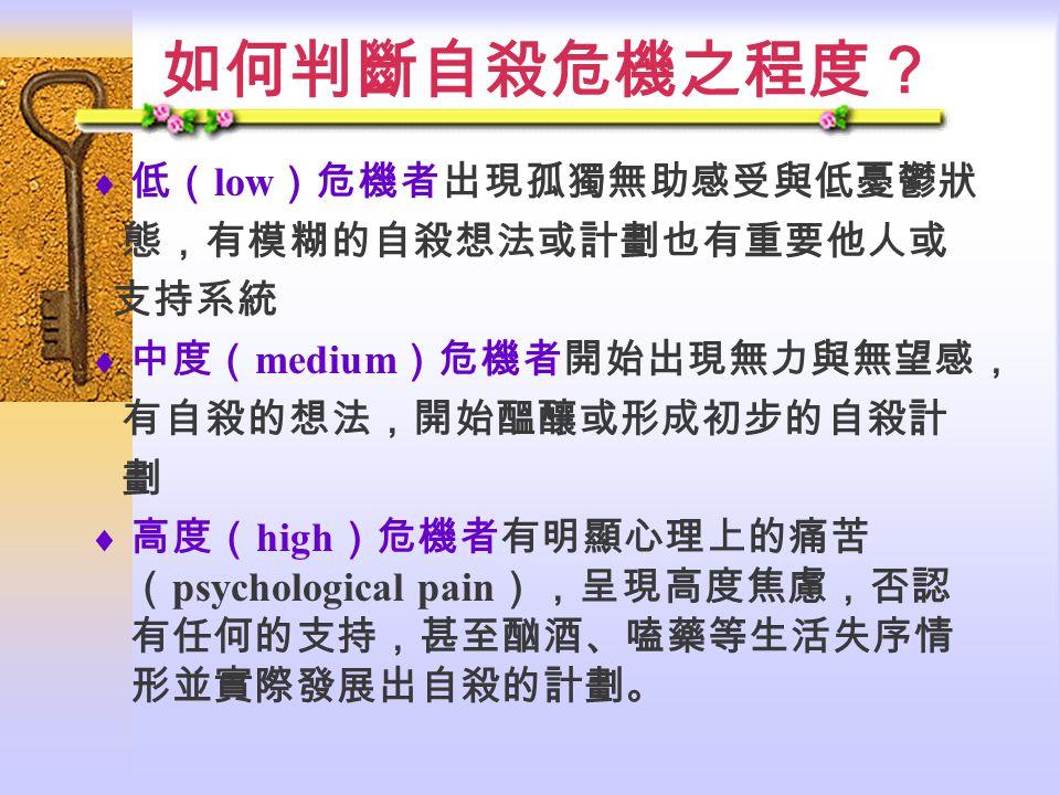 如何判斷自殺危機之程度?  低( low )危機者出現孤獨無助感受與低憂鬱狀 態,有模糊的自殺想法或計劃也有重要他人或 支持系統  中度( medium )危機者開始出現無力與無望感, 有自殺的想法,開始醞釀或形成初步的自殺計 劃  高度( high )危機者有明顯心理上的痛苦 ( psychological pain ),呈現高度焦慮,否認 有任何的支持,甚至酗酒、嗑藥等生活失序情 形並實際發展出自殺的計劃。