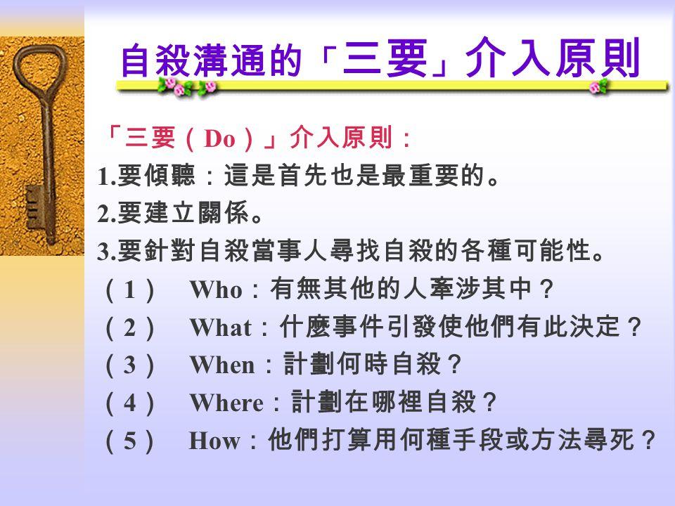 自殺溝通的 「 三要 」 介入原則 「三要( Do )」介入原則: 1.要傾聽:這是首先也是最重要的。 2.