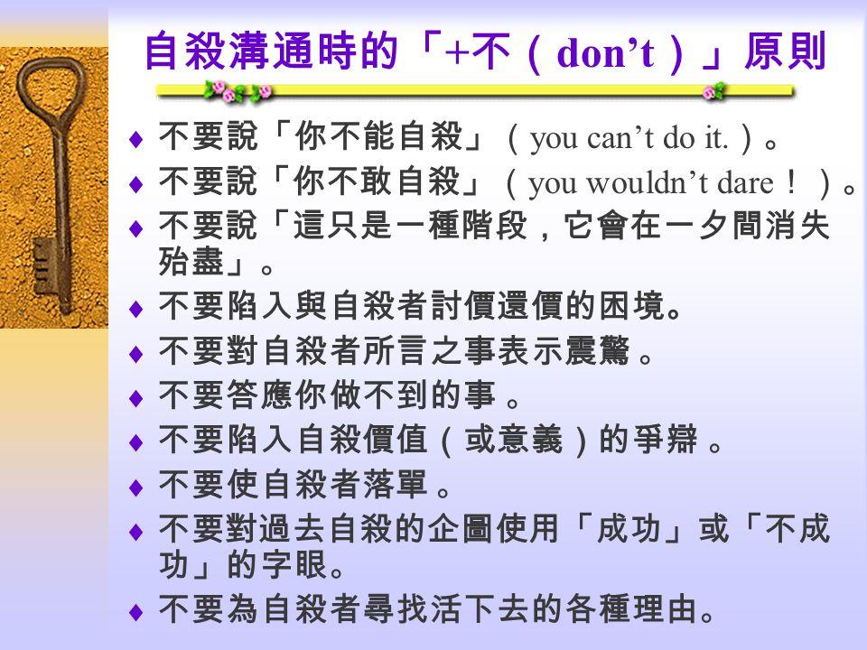 自殺溝通時的「 + 不( don't )」原則  不要說「你不能自殺」( you can't do it.