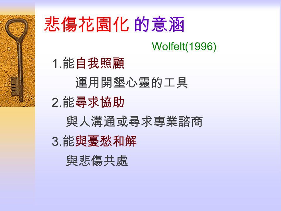 悲傷花園化 的意涵 Wolfelt(1996) 1. 能自我照顧 運用開墾心靈的工具 2. 能尋求協助 與人溝通或尋求專業諮商 3. 能與憂愁和解 與悲傷共處