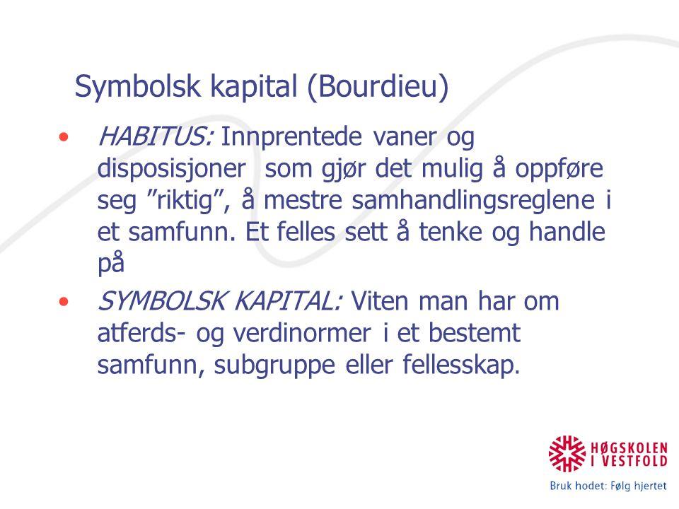 """Symbolsk kapital (Bourdieu) HABITUS: Innprentede vaner og disposisjoner som gjør det mulig å oppføre seg """"riktig"""", å mestre samhandlingsreglene i et s"""