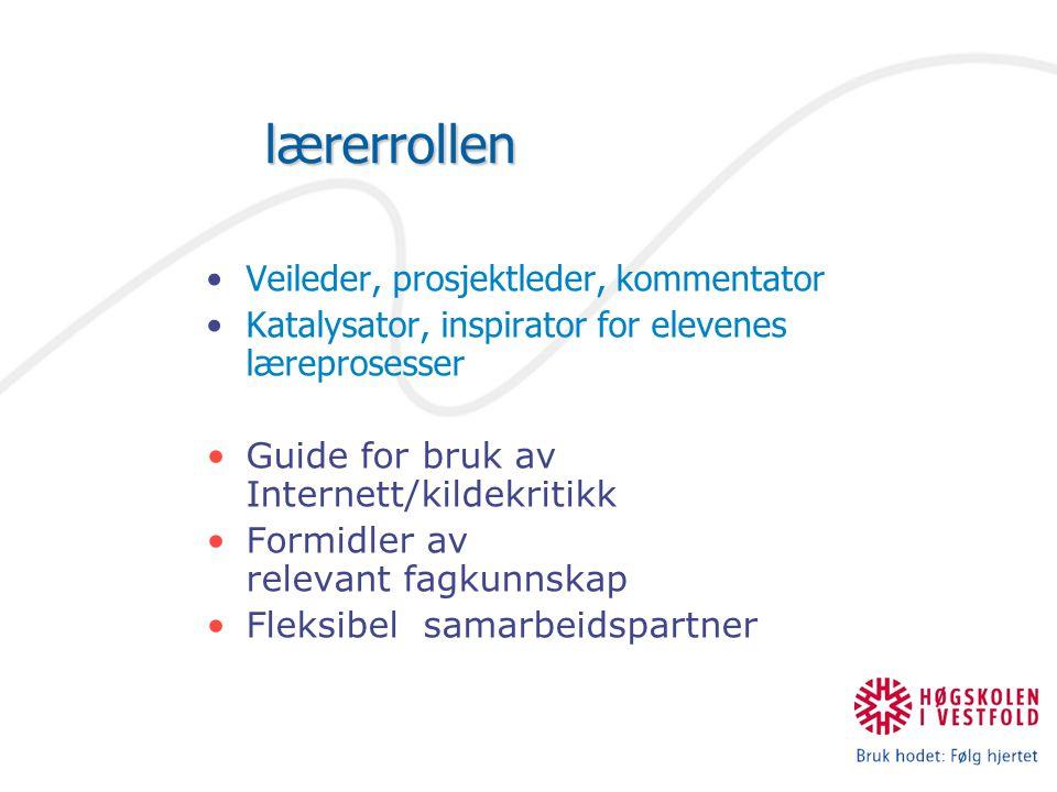 lærerrollen Veileder, prosjektleder, kommentator Katalysator, inspirator for elevenes læreprosesser Guide for bruk av Internett/kildekritikk Formidler