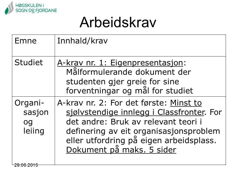 Arbeidskrav EmneInnhald/krav StudietA-krav nr. 1: Eigenpresentasjon: Målformulerande dokument der studenten gjer greie for sine forventningar og mål f