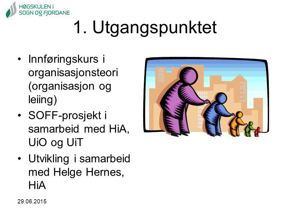 29.06.2015 1. Utgangspunktet Innføringskurs i organisasjonsteori (organisasjon og leiing) SOFF-prosjekt i samarbeid med HiA, UiO og UiT Utvikling i sa