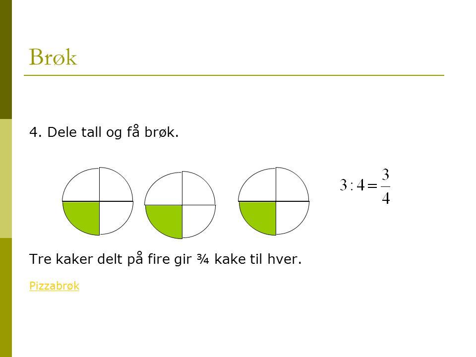 Brøk 4. Dele tall og få brøk. Tre kaker delt på fire gir ¾ kake til hver. Pizzabrøk