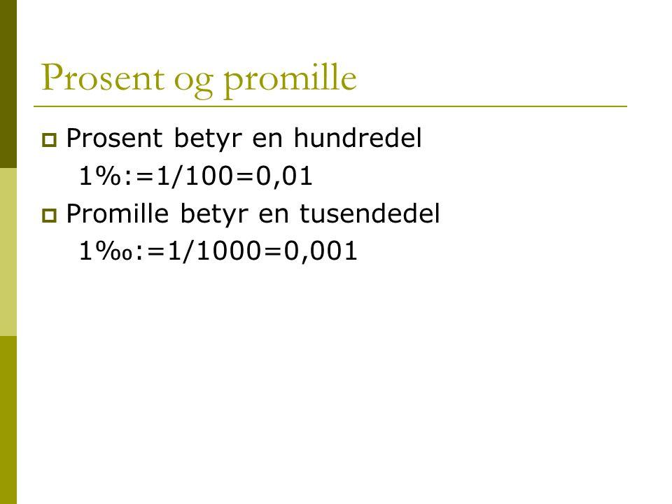 Prosent og promille  Prosent betyr en hundredel 1%:=1/100=0,01  Promille betyr en tusendedel 1‰:=1/1000=0,001