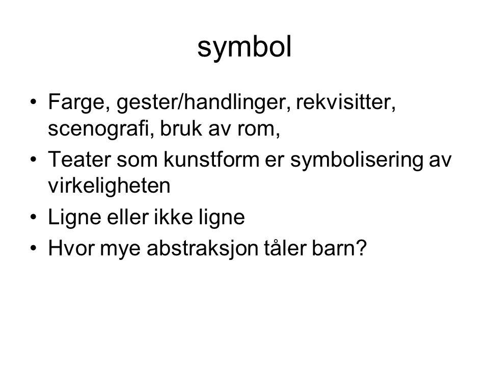 symbol Farge, gester/handlinger, rekvisitter, scenografi, bruk av rom, Teater som kunstform er symbolisering av virkeligheten Ligne eller ikke ligne H