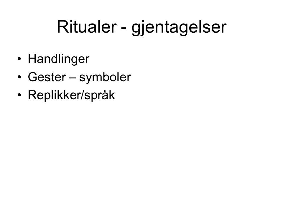 Ritualer - gjentagelser Handlinger Gester – symboler Replikker/språk