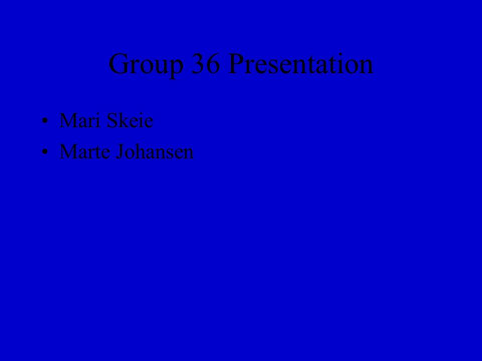 Group 36 Presentation Mari Skeie Marte Johansen